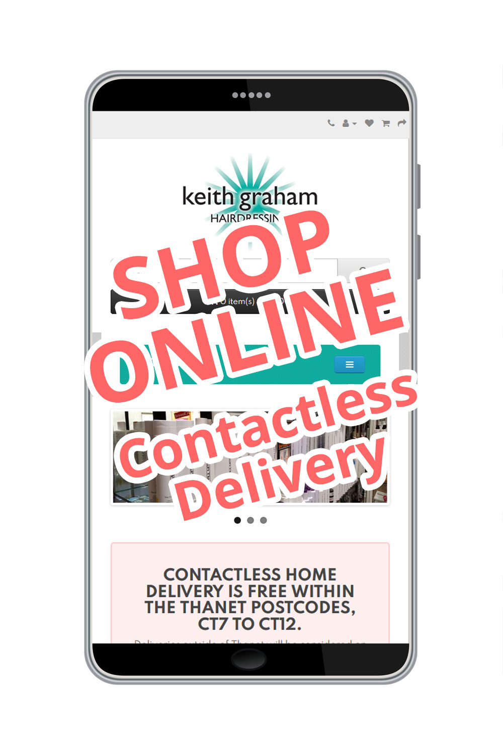 Image of the Keith Graham Hairdressing online shop displayed on a mobile phone